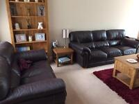 Leather sofas and footstoll