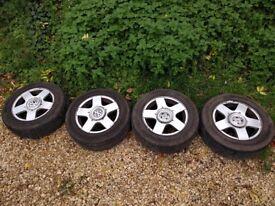 4x VW golf Alloy wheels with good tyres.