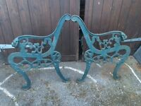 2 x iron bench ends perfect for upcycling