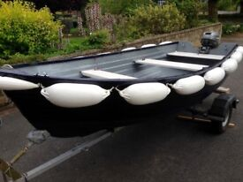 12Ft Glassfibre Dinghy with Outboard Engine & Road Trailer