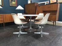 Space Age Tulip Dining Table and 4 Chairs by Maurice Burke for Arkana. Retro Vintage Mid Century