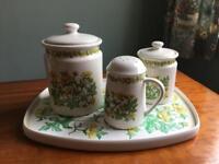 Taunton Vale Vintage 1960s 70s Floral Buttercup Retro Kitsch Kitchenware Set