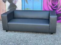 New Clarke Faux Leather 3-Seater Sofa In Black