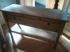 Mexican pine console table. In good used condition.