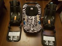Britax baby safe car seat (smart zebra)with x2 baby safe ISOFIX