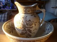 Large Victorian pitcher and bowl in brown transfer print