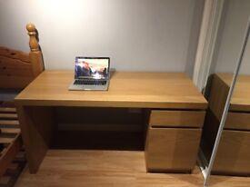 Ikea Malm Desk with Drawer and Cupboard - Oak Veneer