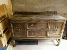 Hand carved antique solid oak sideboard