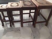 Antique Hardwood Walnut Nest of Tables