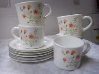 """Pyrex """"Emily"""" tea set 5 cups and 5 saucers"""