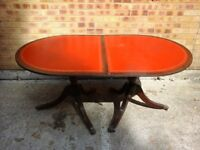 Red leather table
