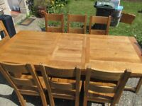 Extendable Oak Table and (x 8) chairs- VGC