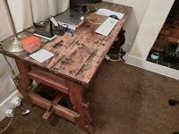 Solid oak vintage style work desk with drawerss