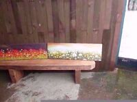 2 x Canvas Paintings Flower Scene Delivery Available
