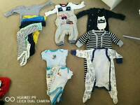 Various 0-3 month baby boy clothes