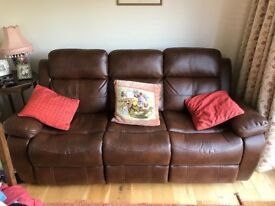 Three seat recliner faux leather sofa,totally as new,only 6 months old and practically never used