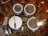 "Black Pacific CX 22"" Maple Drum Kit (made by DW) with Sabian Pro Sonix Cymbals and Double Bass Pedal"