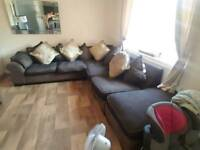 Large corner sofa and chair and footstool