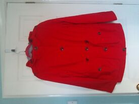 Ladies parka style jacket , bright red, Per Una , with Stormwear size 8