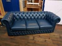 Dark Blue Chesterfield 3 Seater Sofa