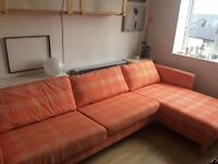 IKEA Sofa three seater with chaise longe. Karlstad IKEA orange fabric cover