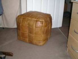 Leather Patchword Pouffe