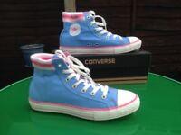 CONVERSE BLUE/ PINK HIGH TOPS WITH BOX UK 5 EU 38