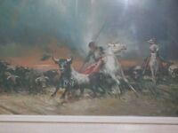 A Spanish Bull Round Up A Print From The Painting By Palmerode Gregerio Alfredo 1901-1991