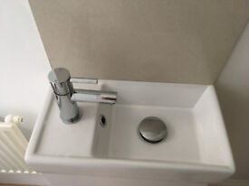 Compact square sink/ basin (only) white ceramic
