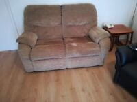 2 seater sofa in beige velour fabric very comfortable and from a clean non-smoking house