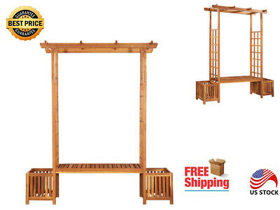 High Quality Garden Patio Wooden Pergola with 1 Bench and 2 Planter Brown ()