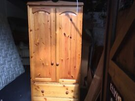 Solid Pine Wardrobe with 2 Draws