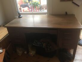 Abbess large wooden desk 1.5 x 0.8m approx top marked. Buyer collects