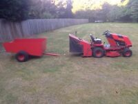 Countax K18 ride on mower + grass collector + trailer + rotovator