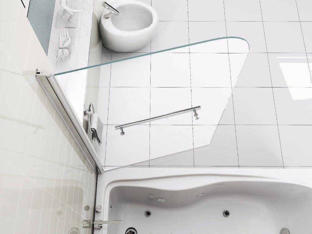 6mm Glass Over Bath Shower Screen Door Panel with towel rail | in ...