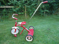 Classic Red Radio Flyer Trike With Removal Push Handle
