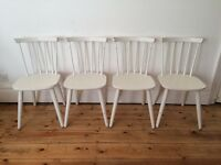 Vintage Danish Style Facory Painted White Stick Back Dining Chairs x 4 1970s