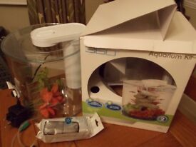MARINA 360 AQUARIUM KIT TROPICAL or COLD WATER FISH TANK 2.65 GALLONS with extras