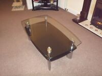 Glass and chrome coffee table and 2 matching side/ lamp tables, excellent condition