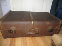vintage trunk, banded trunk/chest, great for storing things in, vintage case