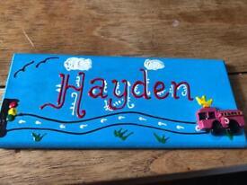 """""""Hayden"""" door sign"""
