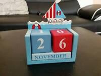 Wooden Calendar Nautical Blocks