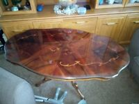 """Lovely polished coffee table, middle leg, 46""""x27"""""""