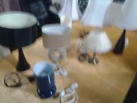 A selection of bedside and table lamps. Priced between £ 5 and £12 each
