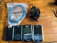 4 Blackberry phones for spares or parts Pearl, Bold, Curve With Chargers