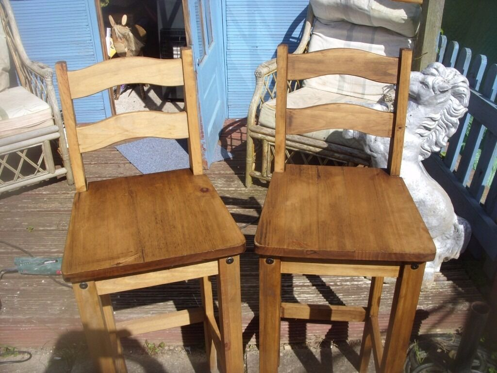 Astonishing 2 X Mexican Pine Bar Stools With Backs In Ross On Caraccident5 Cool Chair Designs And Ideas Caraccident5Info