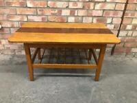 Vintage Solid Wood Coffee Table Ladder Bottom Mid Century Retro