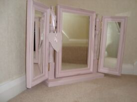 Shabby Chic free standing triple mirror painted in Annie Sloan pale pink paint