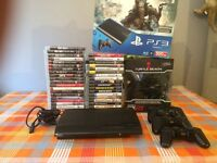 PS3 Mega bundle 500gb console (with box) & call of duty map packs, controllers, headset & 40 games