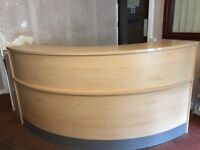 Curved Reception Desk Beech Modular Corner Round Large Office Salon Computer Commercial Hotel Barber